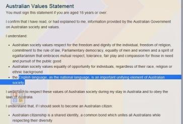 australian values statement